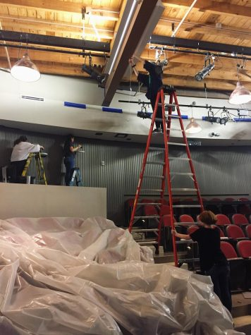 The scenic and lighting department of Carnegie Theatre Co.  preparing the space to open The Flick by Annie Baker.