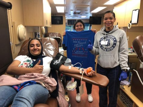 Students from last year donate blood during the NHS Blood Drive