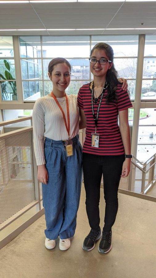 Scholastic Gold-Key Winners in writing, Naomi Canny on the left, Asmita Ahuja on the right.