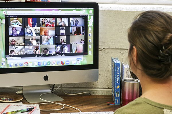 Students have to communicate through Teams or other video calling apps.