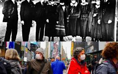 (top)Seattle drugstore employees gather downtown amid 1918's influenza pandemic (bottom)Pedestrians crossing the streets of downtown New York City mid- COVID-19 pandemic, 2020