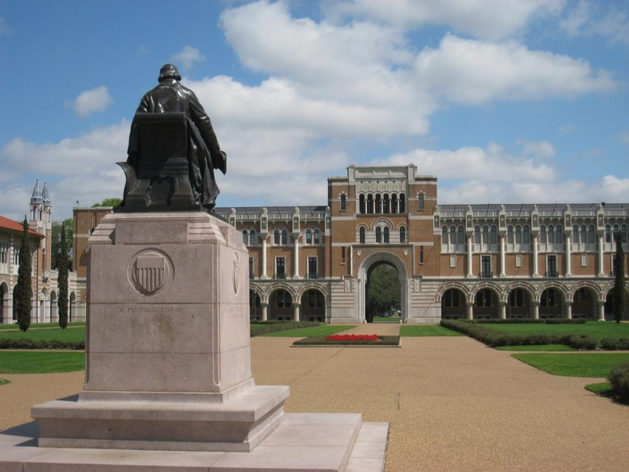 The Rice University campus lacks its usual bustle of students during the pandemic.