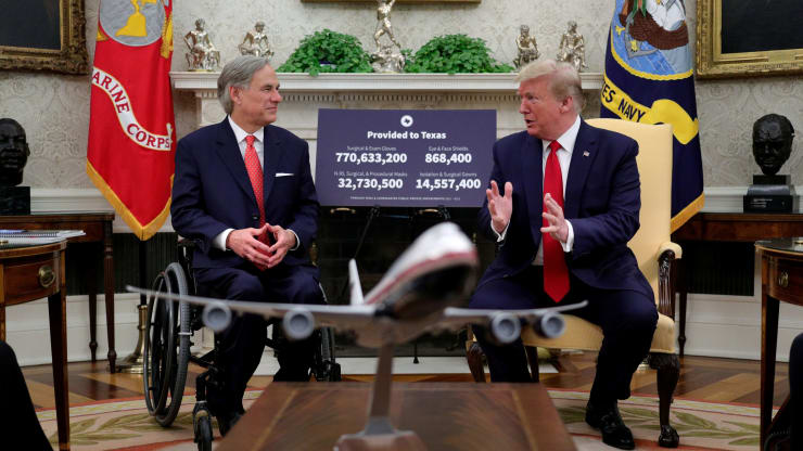 TX Gov. Abbott visits Trump in the White House May 7.