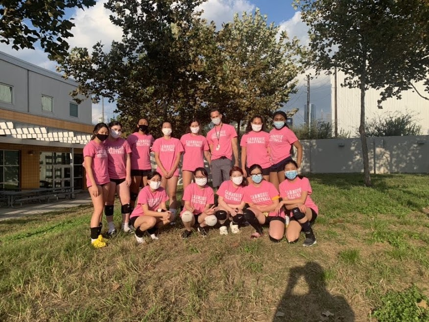 CVHS Freshman Volleyball Team masks up for their first game against Klein Forest