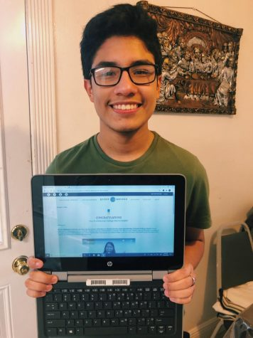 Javier Rodriguez displays his congratulatory email letter from Questbridge Scholarship, showing he is a 2020 recipient.
