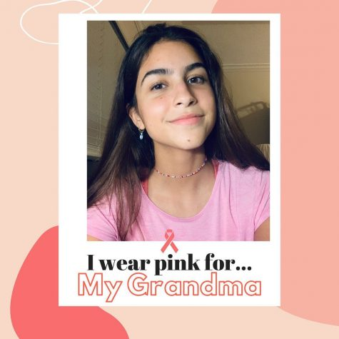 Senior Viana Rodrigues wears her pink attire in memory of her grandmother who passed from breast cancer and also to raise awareness among women in her social media campaign.