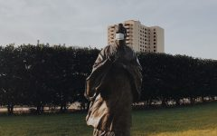 Featured at the McGovern Centennial is a statue of ancient philosopher Confucius, who has taught the people how to act since approximtely 5th century B.C.