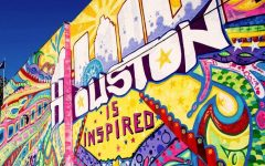 One of the many vibrant murals in Houston's downtown area.
