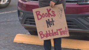 In December, teachers protested to call on TEA to cancel STAAR testing during the pandemic.