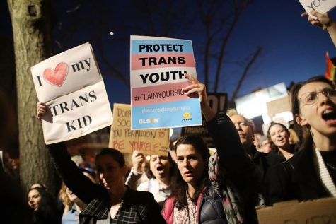 Students protest to protect the rights of transgender students on the anniversary of the Stonewall Riots.