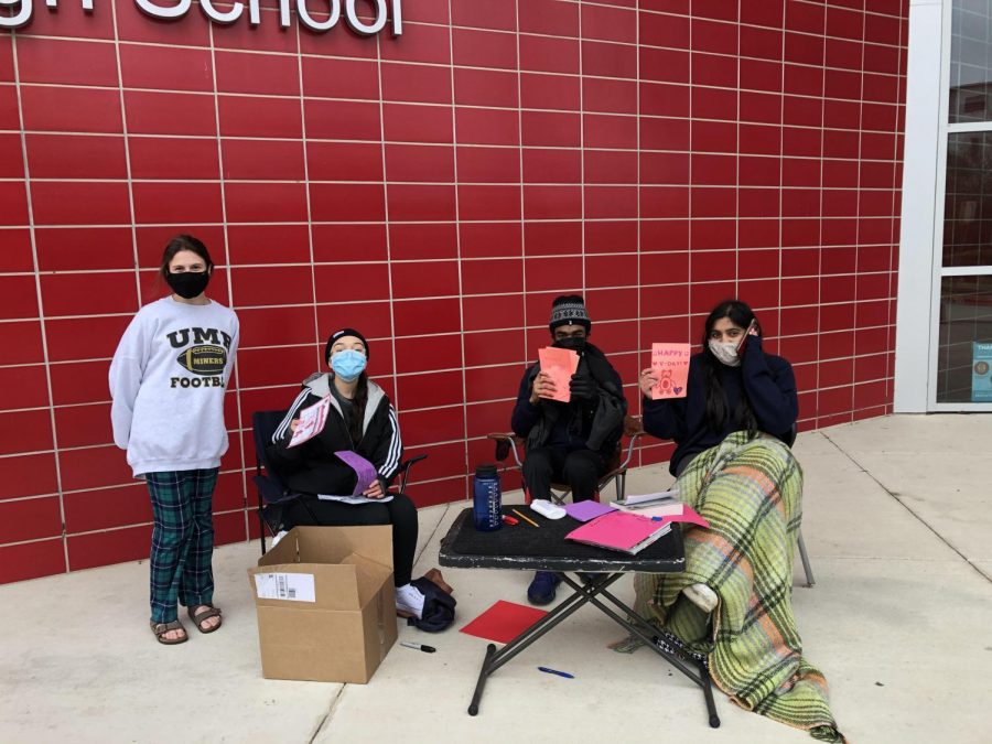 CVHS Multi-Racial Student Organization (CMRSO) gathered outside to make Valentines Day cards for the Womens Home.
