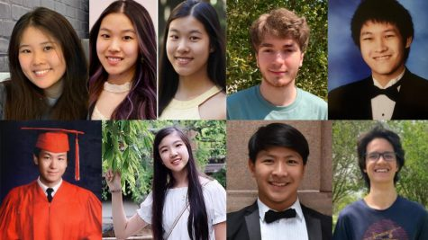 Bellaire H.S. Class of 2021s nine valedictorians: Alkiviades Boukas, Daniel Chen, Evie Tsen-Ying Kao, Angela Ling, Miles Mackenzie, Wenson Tsiah-Hao Tang, Christopher Zhou, Annie Zhu, and Shirley Zhu.
