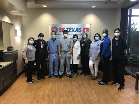 On Saturday, February 6th, 2021, CVHS junior Maia Vo(far right) joined the SE Texas Emergency room health team in providing distribution assistance for the second dose of the Moderna COVID-19. Vaccinations went out to a portion of Houston-Spring Valley's community of small clinic health professionals and their elderly family members.
