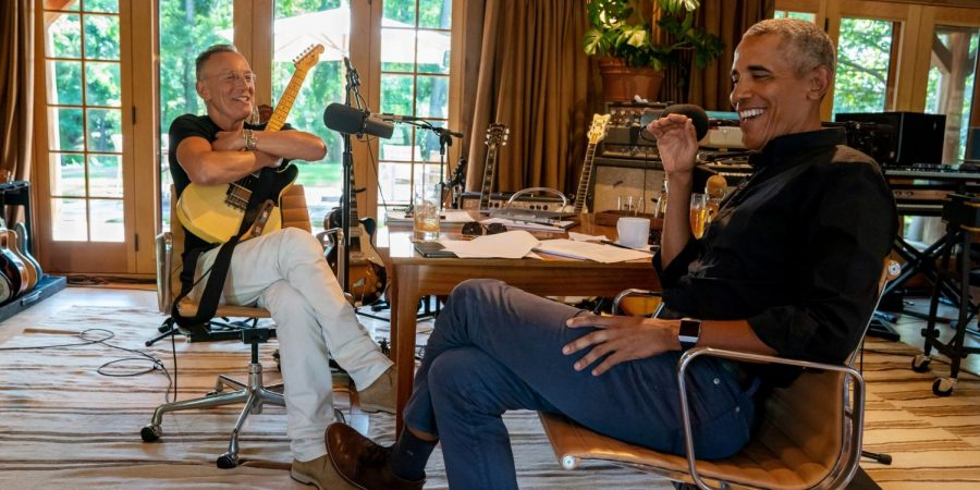 Bruce Springsteen and Barack Obama hold a spotify podcast titled, Renegades: Born in the USA.