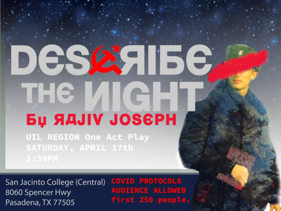 Poster of CVHS' one-act-play performance for UIL Regional Competition, Describe the Night