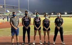Track coaches Joshua Garcia and Jamie Ford stand alongside CVHS' regional contenders: Donovan Snell, Viana Rodrigues, and Gabriela Rodriguez.