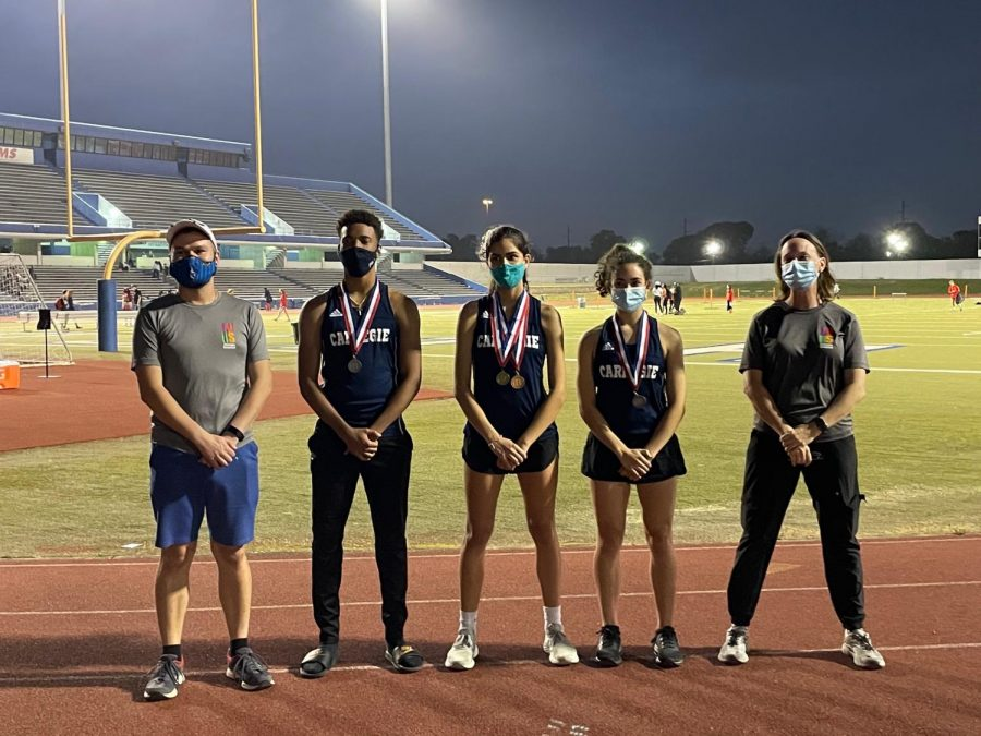 Track coaches Joshua Garcia and Jamie Ford stand alongside CVHS regional contenders: Donovan Snell, Viana Rodrigues, and Gabriela Rodriguez.