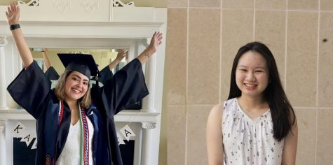 Hannah Fernandez (left) on graduation day in May 2021 at the University of Virginia. Michelle Nguyen (right) is currently a sophomore in college.